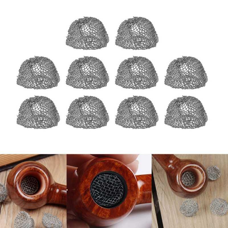 10 個タバコ喫煙パイプ金属フィルタースクリーン鋼メッシュ縁ドーム峰シェイク