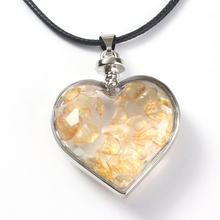 XSM Trendy Silver Plated Citrine Gravel Cute Heart Wish Bottle Pendant Fashion Jewelry For Lovers