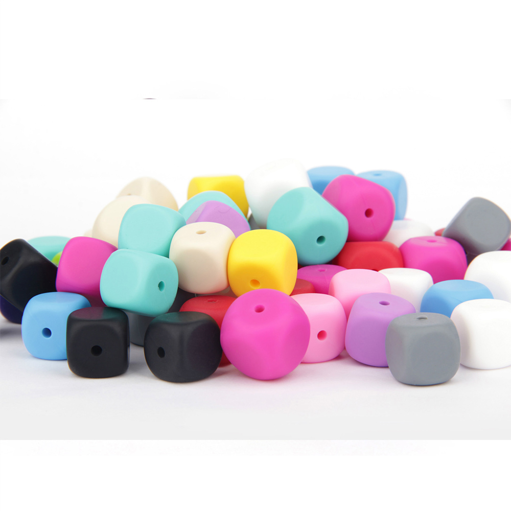 TYRY.HU 100Pcs/Lot 13mm Square Shaped Silicone Beads Teething Baby Teether Toys Necklace Food Grade Silicone  BPA Free