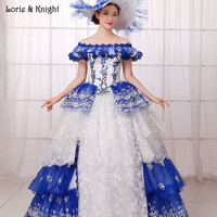 Pricess Sissi Robe Inspiré Royal Robes de Bal de L'épaule Blanc et Bleu Robe De Quinceanera Mascarade robe de Bal