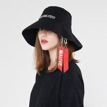 c0e7035dafaa9 Fashion personality female ribbon letter basin cap Autumn and winter new  flat top big brim bucket hats