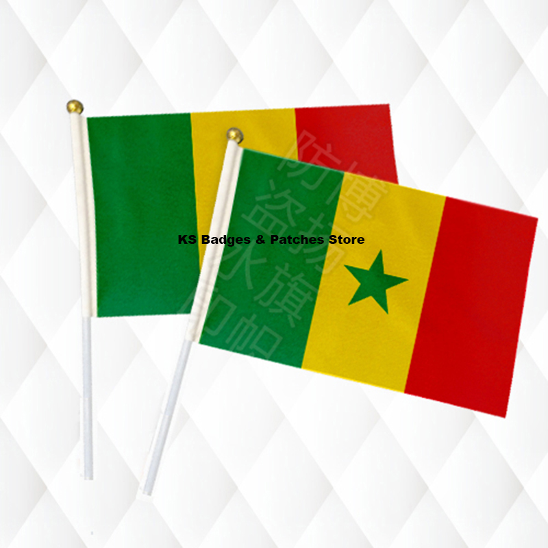 Senegal Hand Held Stick Cloth Flags Safety Ball Top Hand National Flags 14*21CM 10pcs a lot ...