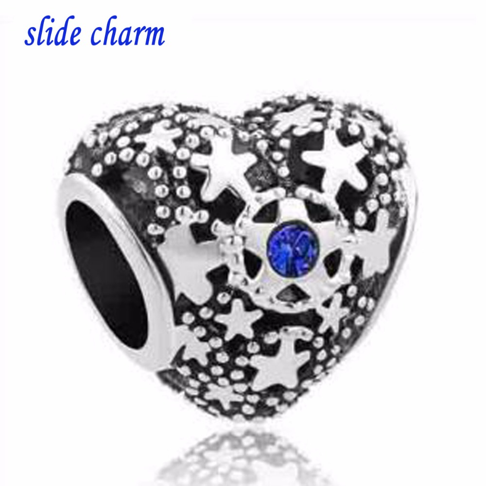 slide charm Free shipping Fit Pandora charm bracelets Birthstone Christmas Snow Heart Love Bead Charms For Bracelets Beads for