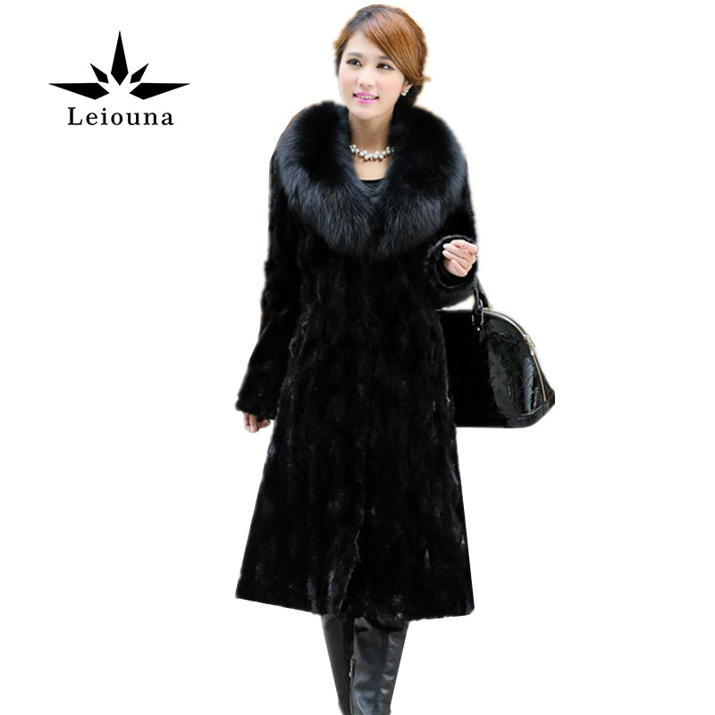 Leiouna Imitation Women Black Fox Mink Fur Winter Long Coat Snow Wear Collar Warm Plus Size 6XL Costume Casaco Ropa Mujer 2017 winter new clothes to overcome the coat of women in the long reed rabbit hair fur fur coat fox raccoon fur collar