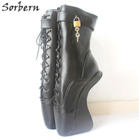 Sorbern New 18CM High Heel Hoof Sole Heelless Strange Style Boots Women Sexy Fetish Ballet Pointe Lockable Ankle Boots
