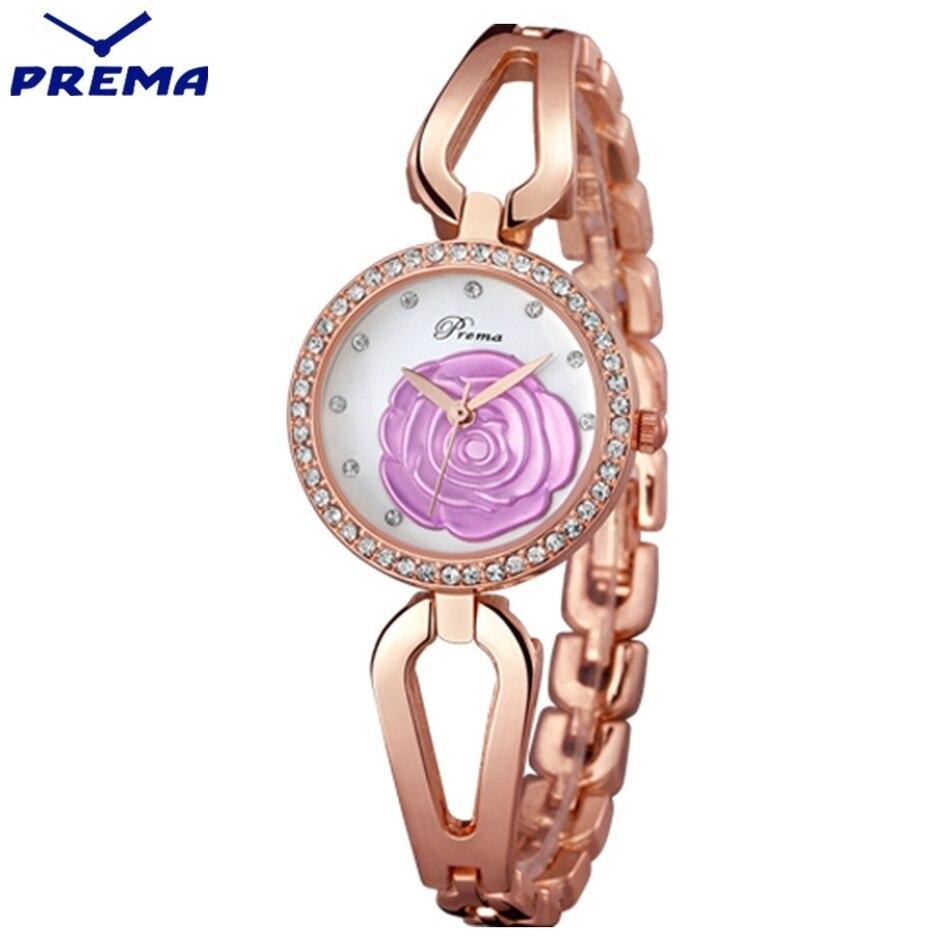 ФОТО Orologi Donna PREMA Rose Pattern Leather Sport Lady Wristwatches Stainless Steel Watch Band Joker Fashion Style Bayan Saat