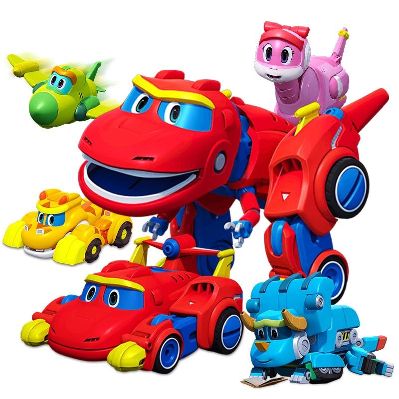 c6c7b146dfff Nuevo Gran Gogo Dino ABS deformación coche/avión con figuras de acción de  sonido REX/PING/Tom transformación dinosaurio juguetes para los niños en  Acción y ...