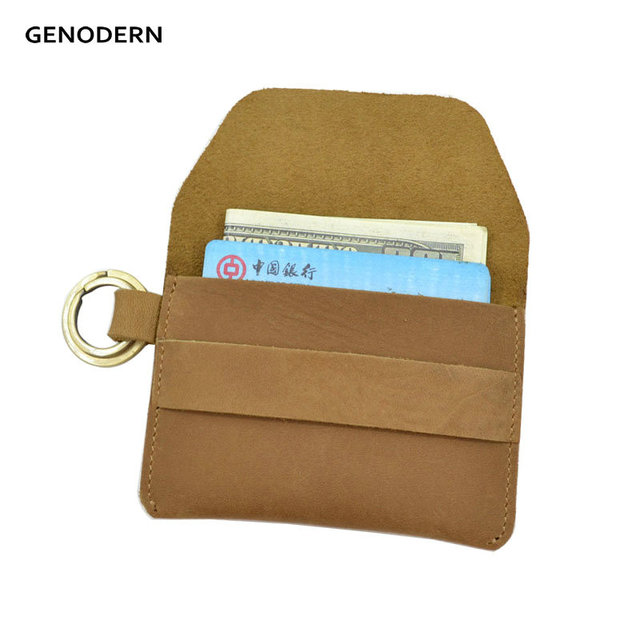 GENODERN Genuine Leather Key Card Holder Men s Credit Card Holders with Key  Ring Card Wallet for Motorcycle Car Key f055677bc46b