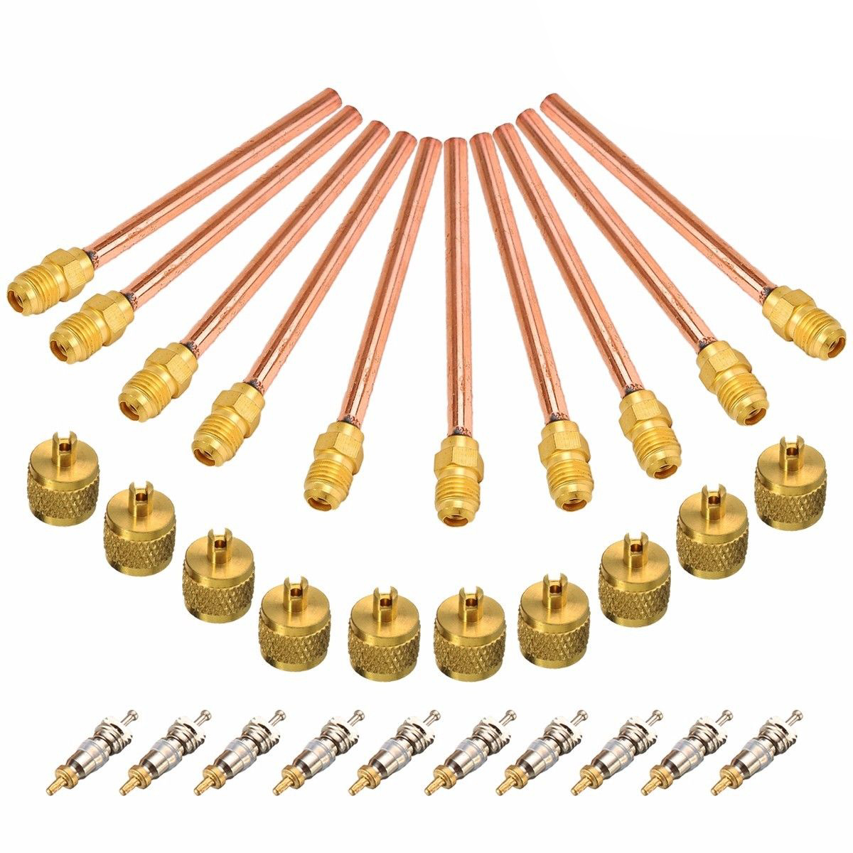 10pcs/lot Durable Service/Access Valve 1/4 SAE * 1/4 OD * 4 Stem Core For AC Air Conditioning Refrigeration Recharge Mayitr 10pcs lot nt5tu64m16gg ac