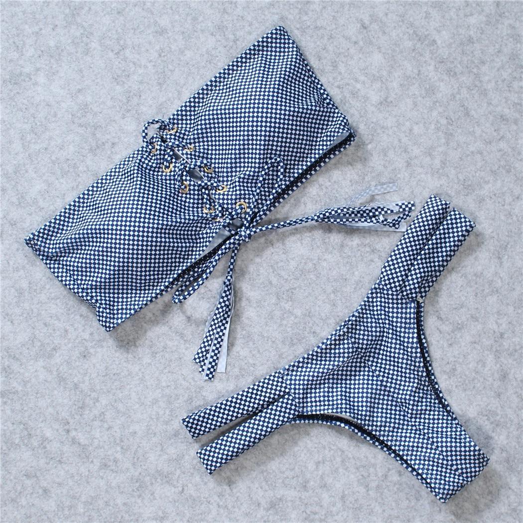 2018 New Bandeau Bikini Set Hot Sexy Lattice Print Swimsuit Bandage Tassel Bikini Swimwear Women Bathers Miaos Bathing Suit