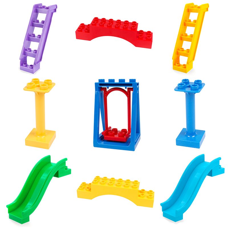 Big Building Blocks Slide Ladder bridge Bricks Swing Accessory Kids DIY Creative Toys Compatible with Duplo Parts city sets gift forest park plant tree leaf model big particles building blocks toys set bricks diy accessory child gift compatible with duplo