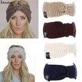 Malha Turbante Headbands Para Mulheres Inverno Quente Crochet Headband Cabeça Envoltório Ampla Ear Warmer Hairband Acessórios Para o Cabelo