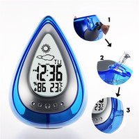 Mrosaa Home Water Power Digital Alarm Clock Confort Eco Friendly Hydrodynamic Weather Station Clock Bathroom Accessories