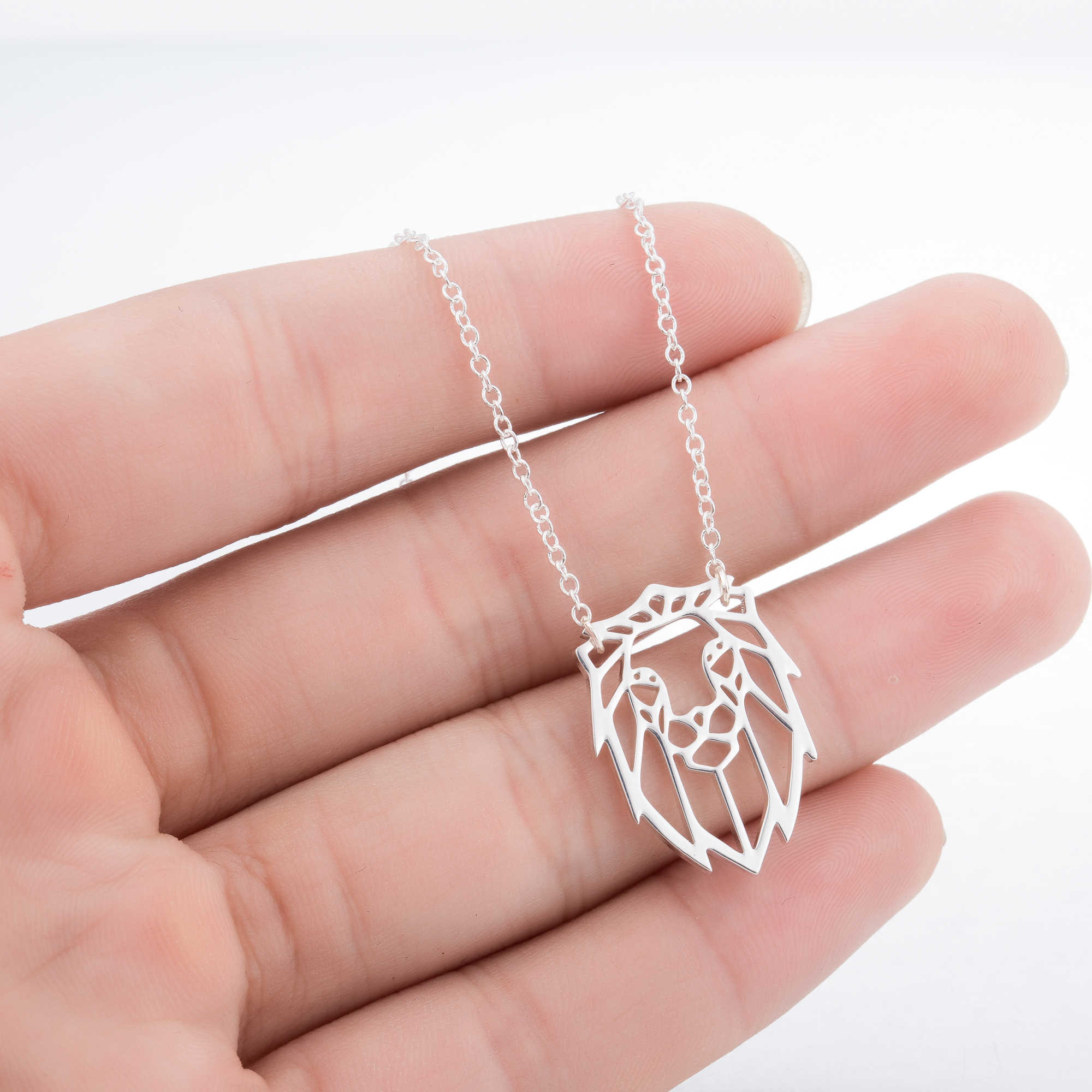 Cute Origami Lion Necklace Pendant for Women Stainless Steel Wild Animal The Lion King Collier Party Accessories