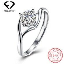 Real 925 Sterling Silver Zircon Open Diamond Ring for Women Fine Jewelry Anillos De Gemstone Diamante carat peridot jewelry ring