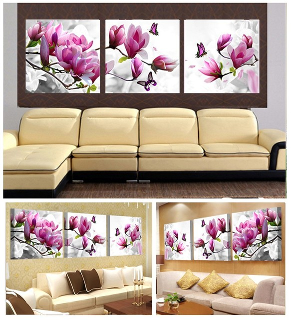 3pcs Print poster canvas Wall Art pink orchids Decoration art oil ...