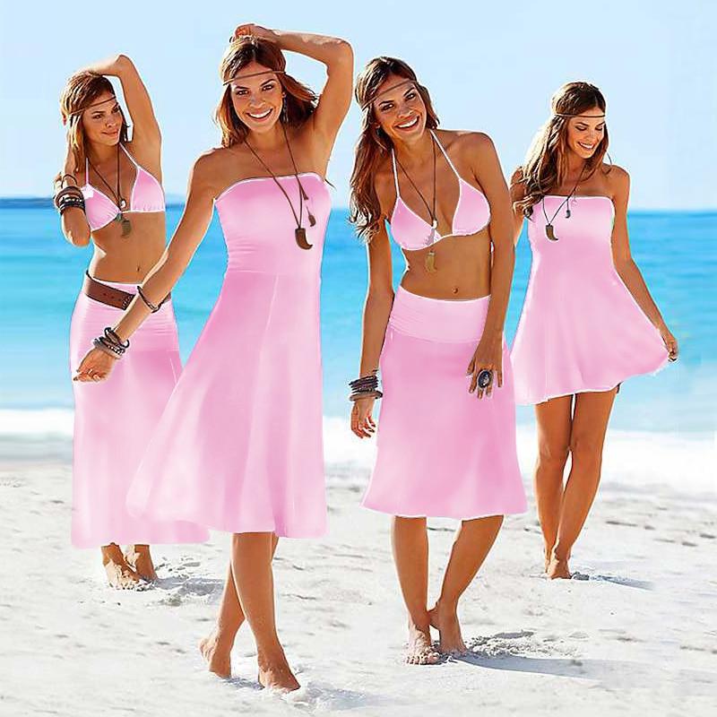 Wholesale Hot 2019 Matches Bikini Convertible Multi Wears Infinite Cover Ups Summer Beach Dresses for Women