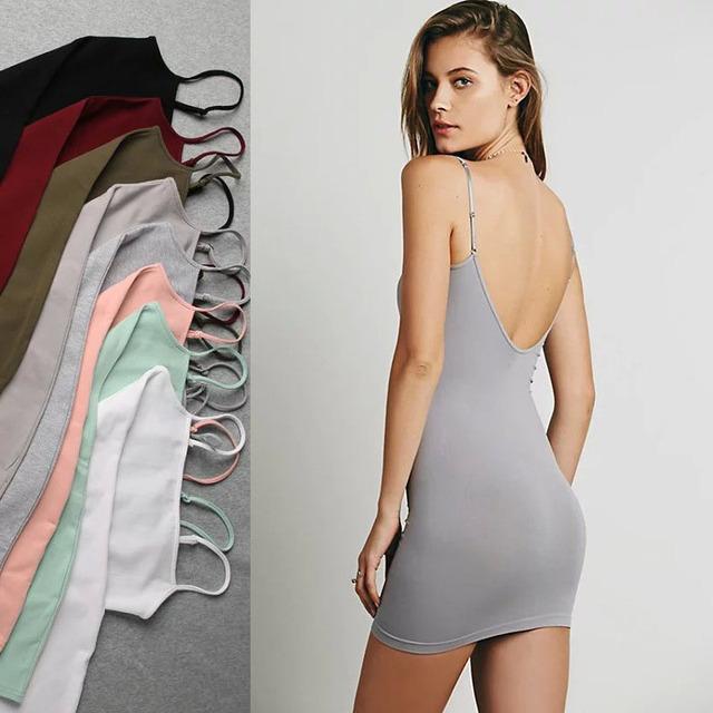 Macio 2016 Mulheres Sexy Deslizamento Slim fit senhoras longas deslizamentos estilo básico lingerie Sem Encosto mulheres Underdress deslizamento completa 8 cores WQ113