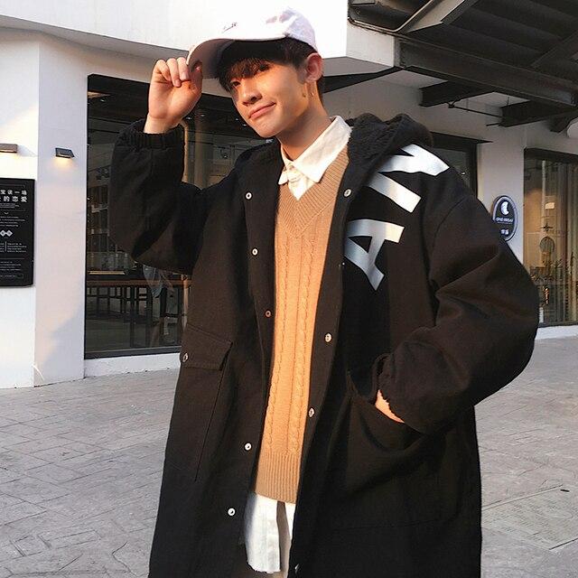 2018 Kış Yeni Desen Kalınlaşma Artırmak Pamuk Kuzu Saç Bile Şapka Kovboy Uzun Fon Gevşek Ceket Erkek Kontrol İngiltere Tarzı