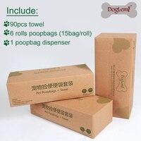 DogLemi Pet Dog Waste Bags Poop Bag With Dispenser Disposal Poop Tissue Towel Set