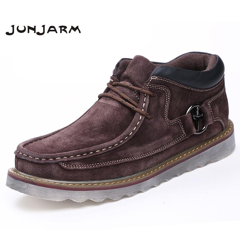 JUNJARM 2017 Autumn Winter Genuine Leather Casual Snow Boots Men Shoes Warm Velvet Vintage Classic Male Ankle Boots Thick Sole