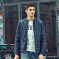 New Fashion PU Leather Jacket Mens Blue Faux Leather Coat Trend Slim Fit Youth Motorcycle Suede Jacket Male