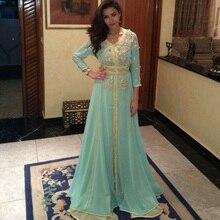 Великолепное вечернее платье с длинными рукавами в Дубае, Арабский кафтан, платье для выпускного вечера, бисер, Блестящие кристаллы, а-силуэт, длина до пола, robe de soiree