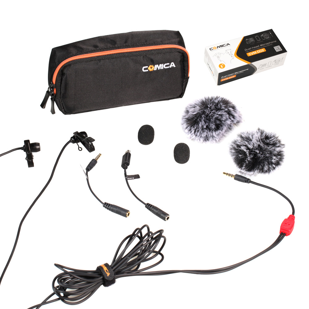 CoMica CVM-D02 Universal Microphone 2.5M Lavalier Omnidirectional Condenser Double Mics For DSLR Cameras Smart Phone Gopro Hero