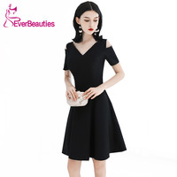 Short Black Cocktail Dresses with Short Sleeves 2019 Knee Length Prom Party Dresses Robe De Cocktail Women Homecoming Dresses