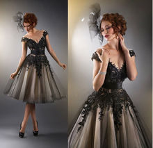 Black Appliques A Line Evening Dresses 2015 New Sheer Scoop Tea-Length Formal Prom Gowns