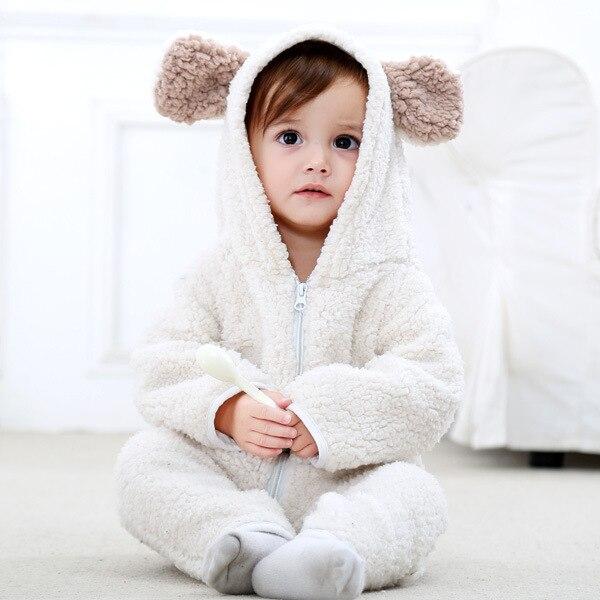 все цены на Baby rompers girls clothes new born baby Cartoon kids pajamas warm winter animal Pajamas roupas de bebe recem nascido онлайн