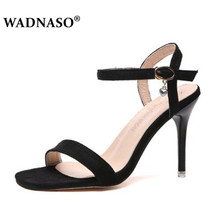 WADNASO New Womens Sexy High-heeled sandals Summer Hollow single shoes Fashion Female shallow mouth a word buckle 35-39