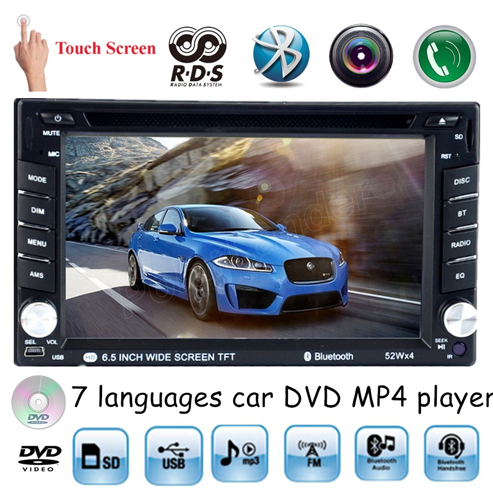 universal 2 din 6.5 inch USB SD AM FM RDS 7 languages touch screen Car DVD MP4 player Bluetooth handsfree for rear camera автомобильный dvd плеер joyous kd 7 800 480 2 din 4 4 gps navi toyota rav4 4 4 dvd dual core rds wifi 3g