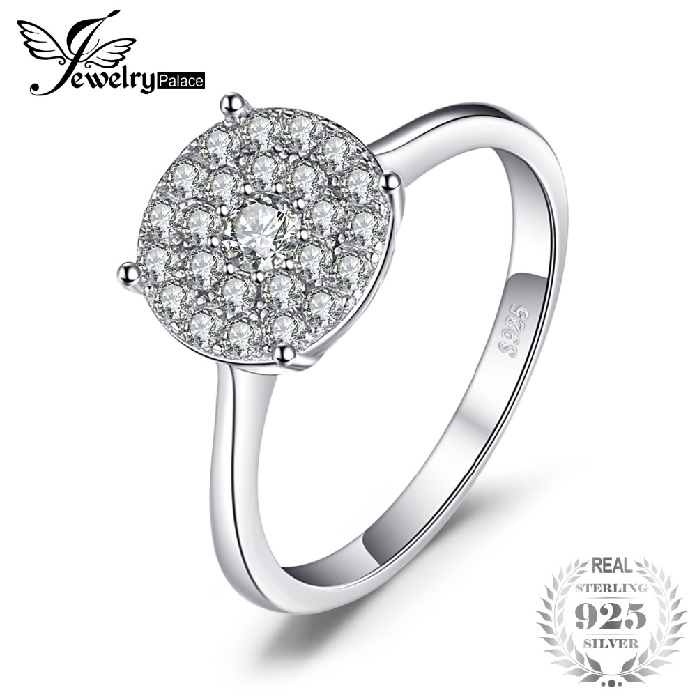0.5ct Round Cubic Zirconia Ring Genuine 925 Sterling Silver Fashion Jewelry For Women Gift Simple Ring Party Gift