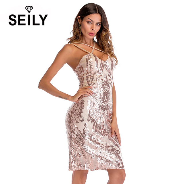 Seily Summer Bling Bling Sequin Sexy Strap Backless Mini Bodycon Party Club Dress 2018 Tropical Womens Dresses Festa Robe Femme