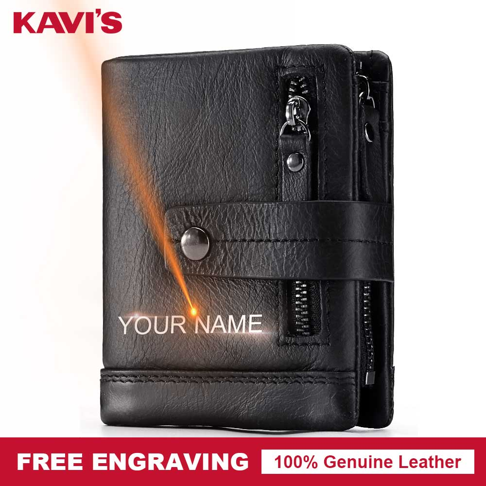 KAVIS Genuine Leather Wallet Men PORTFOLIO Small Portomonee Perse Pocket Zipper Male Cuzdan Card Holder Coin Purse Engraving Bag mingclan genuine leather wallet men coin purse male cuzdan small wallet portomonee portfolio slim mini purse wallet money bag
