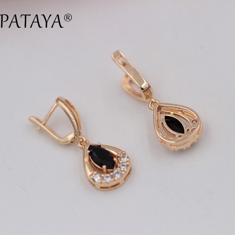 PATAYA Black Double Water Drop Earrings 585 Rose Gold Earrings