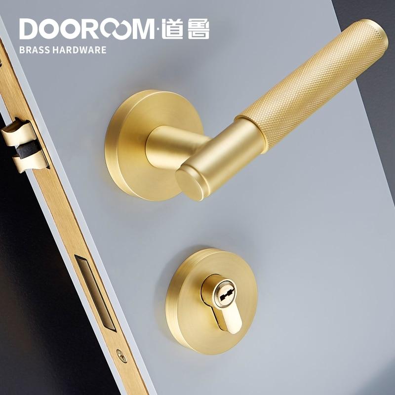 Dooroom Brass Door Lock Lever Set Exquisite Cross Knurl European American Modern Wood Interior Door Lock Dummy Split Handle Knob