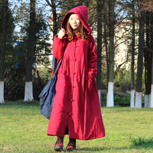 2018 New winter retro hooded frog linen coat folk style long Cotton-padded coat robe gown galabia with with Wizard Hat