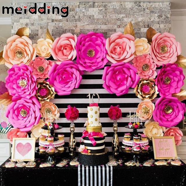 Meidding 2pcs Paper Flowers Diy Backdrop Decor Photo Prop Birthday