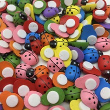 500pcs Assorted Wood Ladybirds/Ladybug Stickers Self-adhesive Easter DIY Crafts Toppers Embellishments 9x12mm
