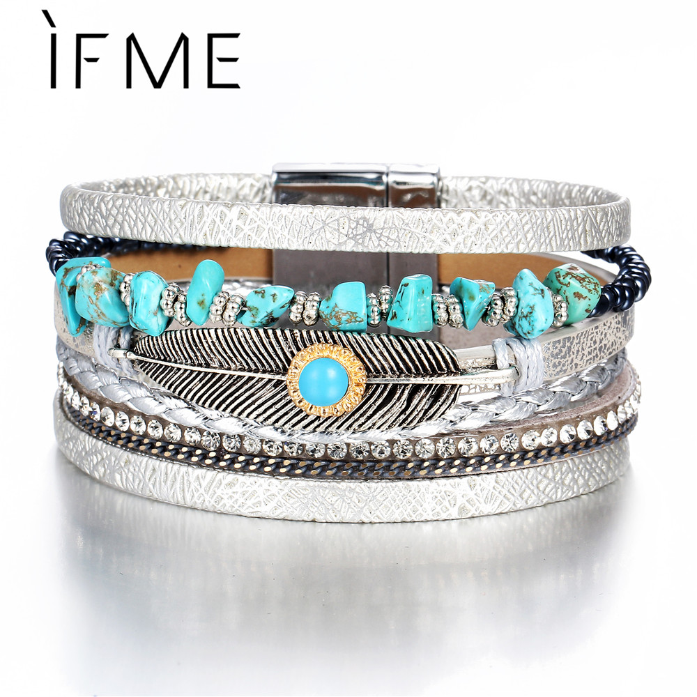 IF ME Bohemian Multiple Layers Charms Leather Bracelets&Bangles For Women Vintage Crystal Stone Leaf Feather Female Jewelry 2018