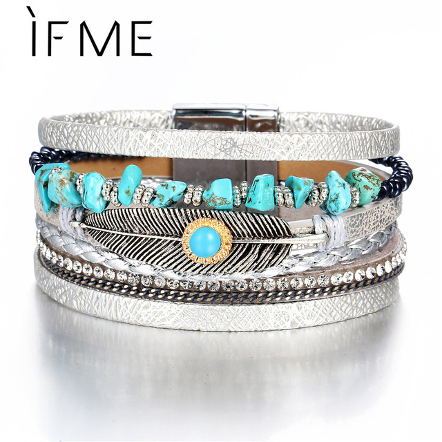 IF ME Bohemian Multiple Layers Charms Leather Bracelets&Bangles for Women Vintag