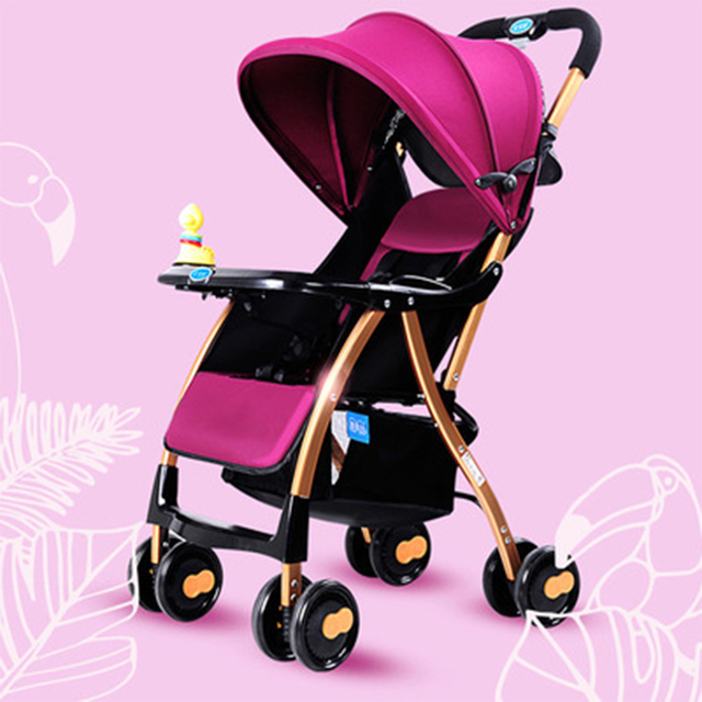 China cheap baby trolley light and lightweight folding umbrella car can ride can be lying with toys winter summer baby carriage
