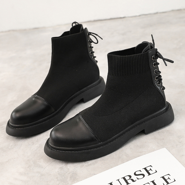 ARANSUE Female fashion Martin boots Korean version ankle boots Cashmere botas mujer Knitted fabric ladies shoes platform boots