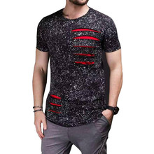 Brand Designer Mens Curved Hem Ripped Tee Shirts Fashion Hi-Street Hip Hop T Shirt Short Sleeve Streetwear Tshirt For Male LQ110