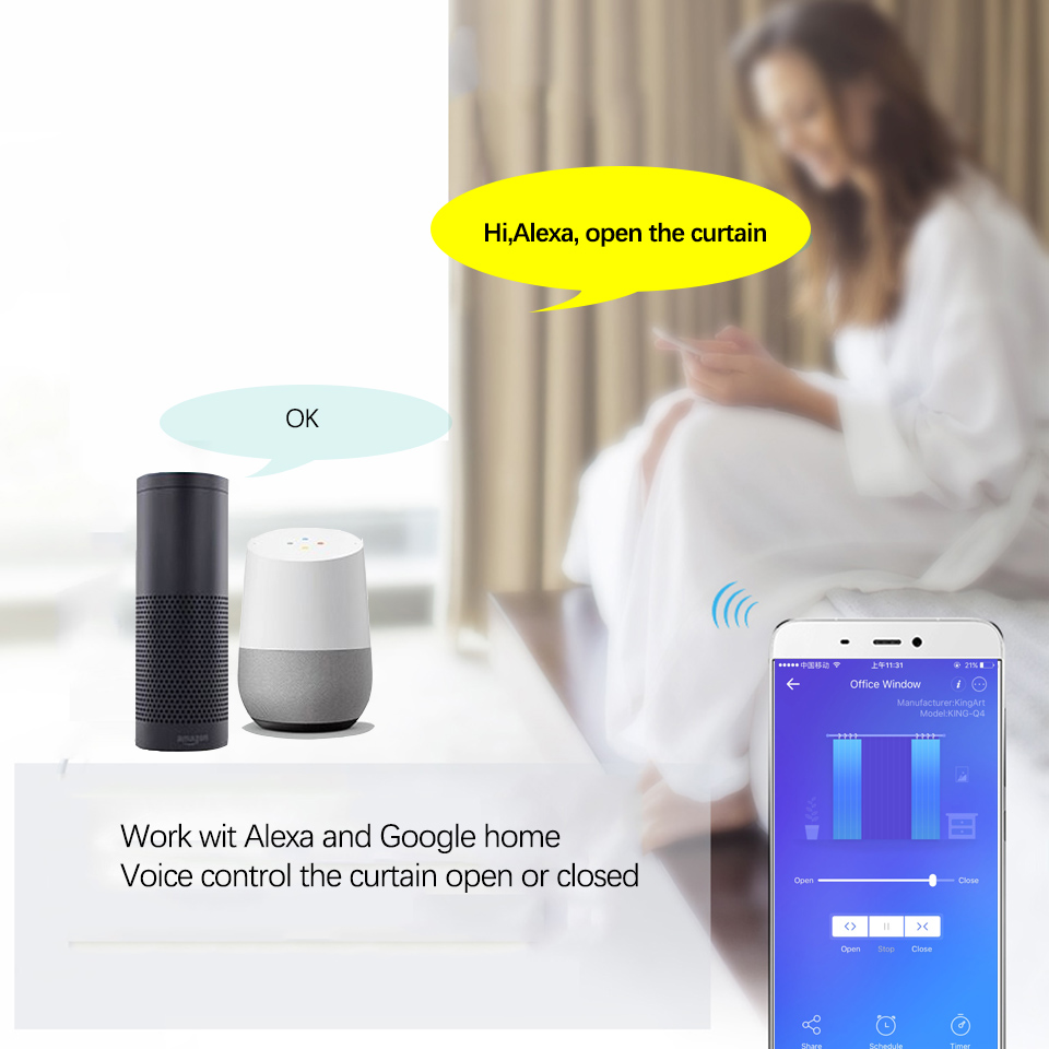 Smart Electric Motor Ewelink APP,Smart Home Wifi Curtain Motor Remote/voice  control work with Alexa/google home For Smart home