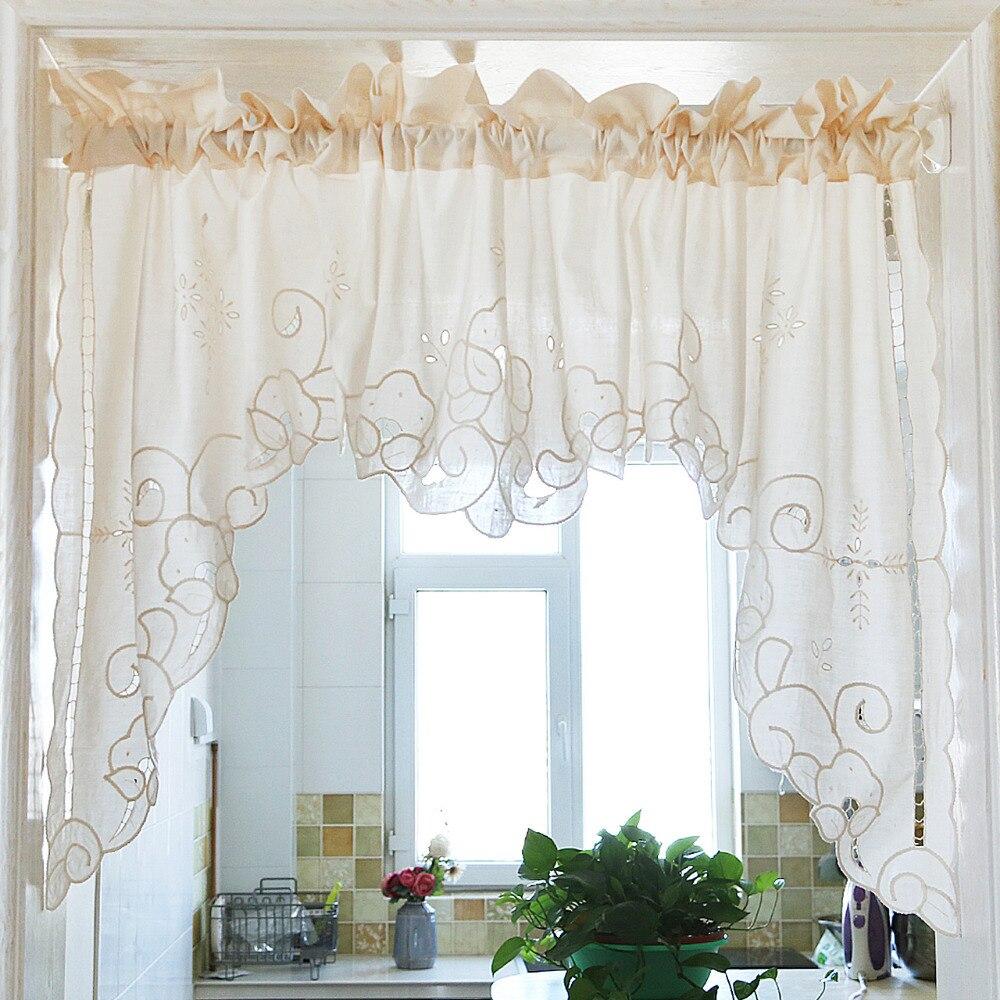 Romain Rideau Drawnwork Creux Broderie Rétro Big Hem Coton De Noël rideau Triangulaire Rideau pour Porte D'armoire De Cuisine