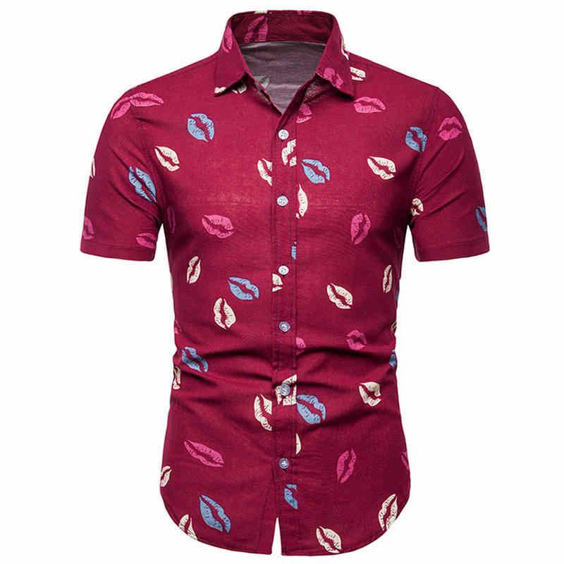 2019 はアロハシャツメンズ男性カジュアルカミーサ masculina プリントビーチシャツ半袖夏メンズ服シャツアジアサイズ 5XL