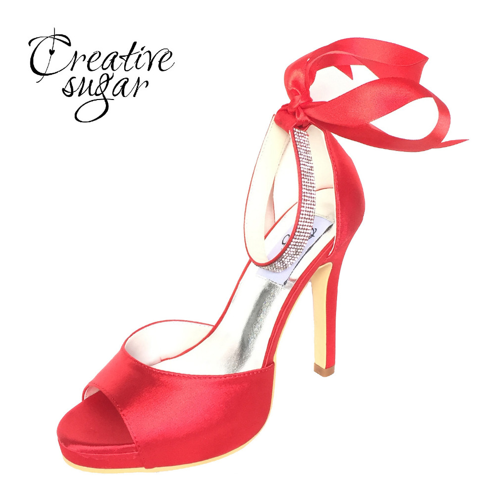 Creativesugar Elegant satin D'orsay pumps open toe rhinestone ankle strap ribbon bow party wedding evening dress shoes blue red creativesugar pointed toe d orsay ankle